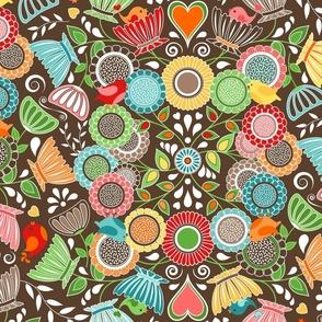 Colorful Scandinavian Folk Art - Flowers and Birds