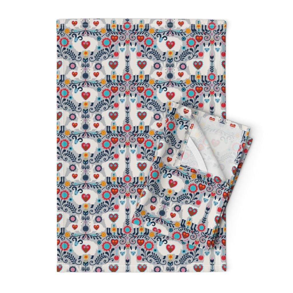 Orpington Tea Towels featuring scandanavian knit-01 by laura_mooney