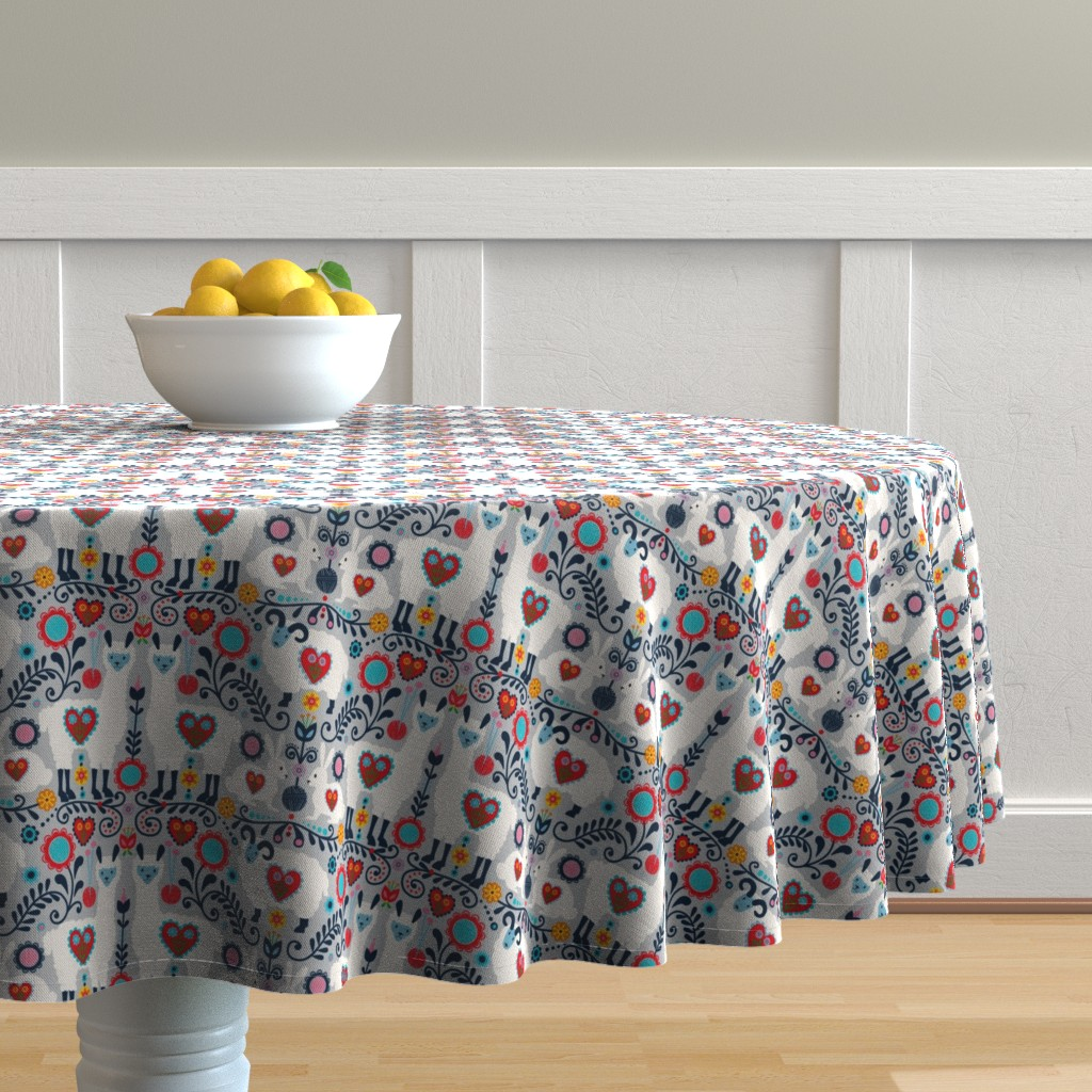 Malay Round Tablecloth featuring scandanavian knit-01 by laura_mooney