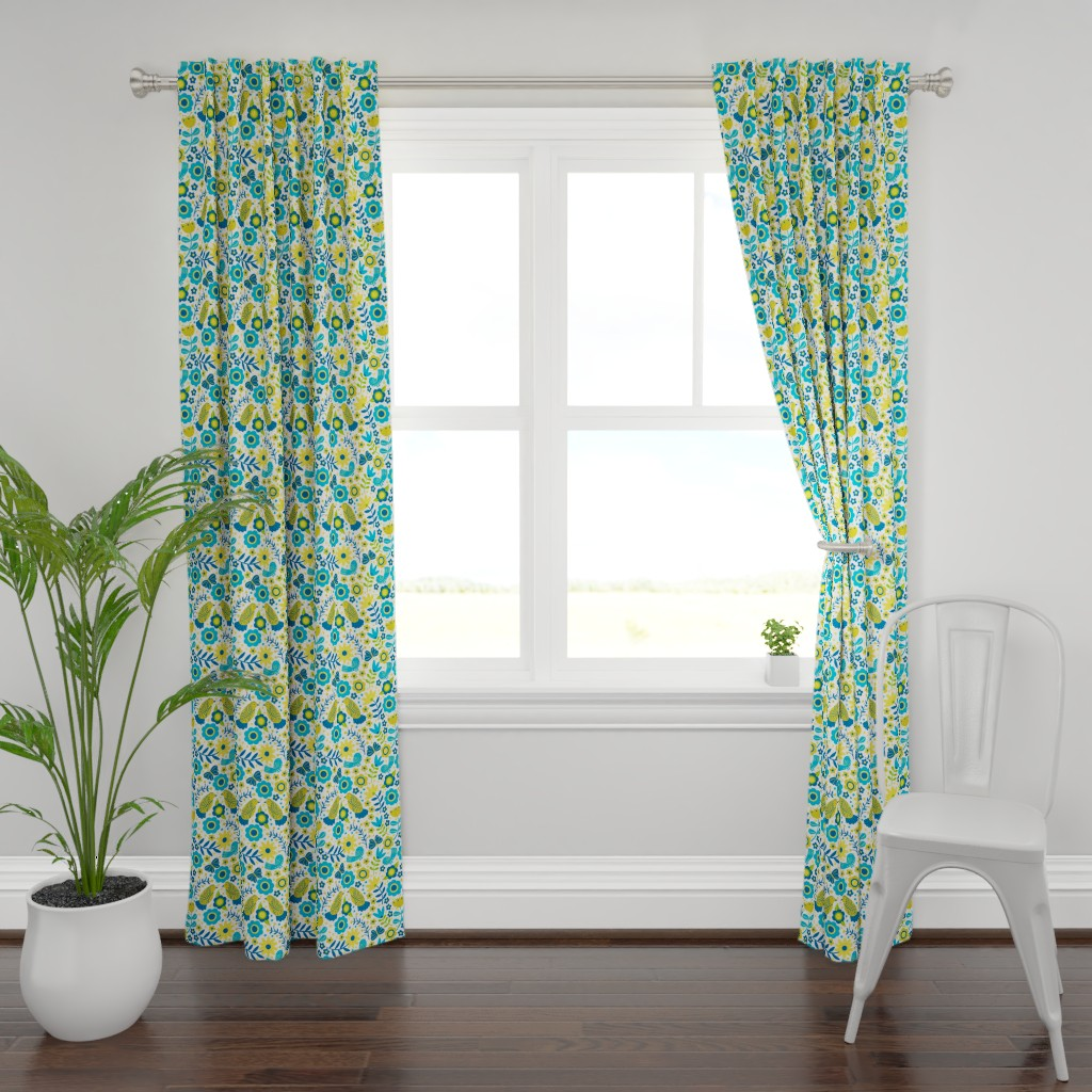 Plymouth Curtain Panel featuring Scandinavian Songbird Meadow by jennifer_holbrook