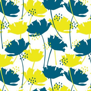 Blue-yellow poppies