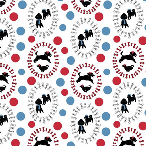 White_Happy_Poodle_Dots_Stock
