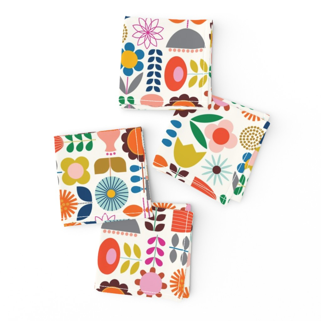 Frizzle Cocktail Napkins featuring Mod Scandinavian Garden by katerhees