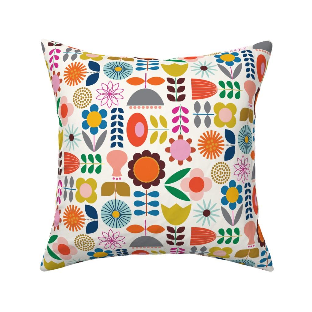 Catalan Throw Pillow featuring Mod Scandinavian Garden by katerhees