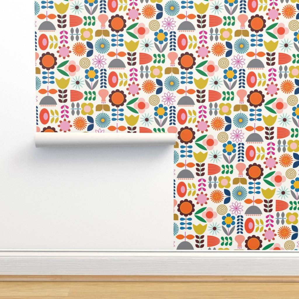 Isobar Durable Wallpaper featuring Mod Scandinavian Garden by katerhees