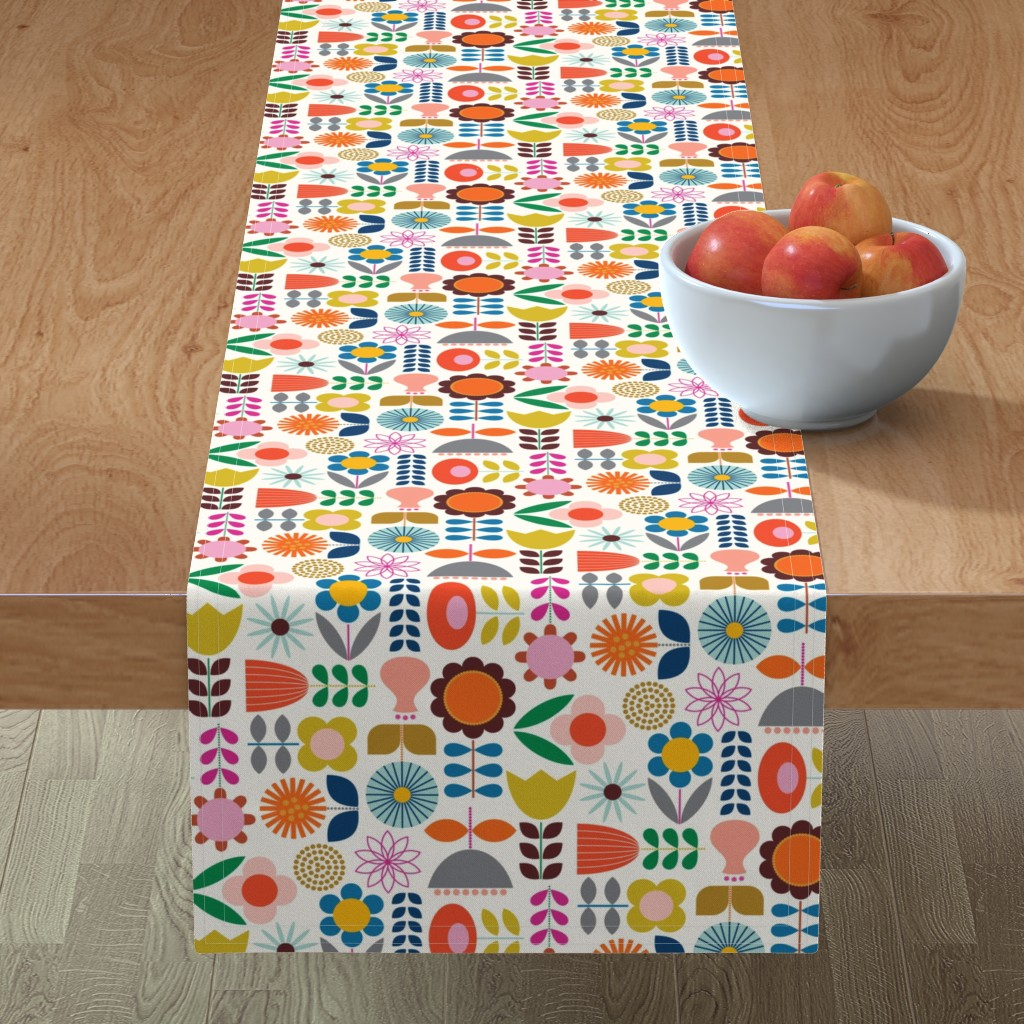 Minorca Table Runner featuring Mod Scandinavian Garden by katerhees