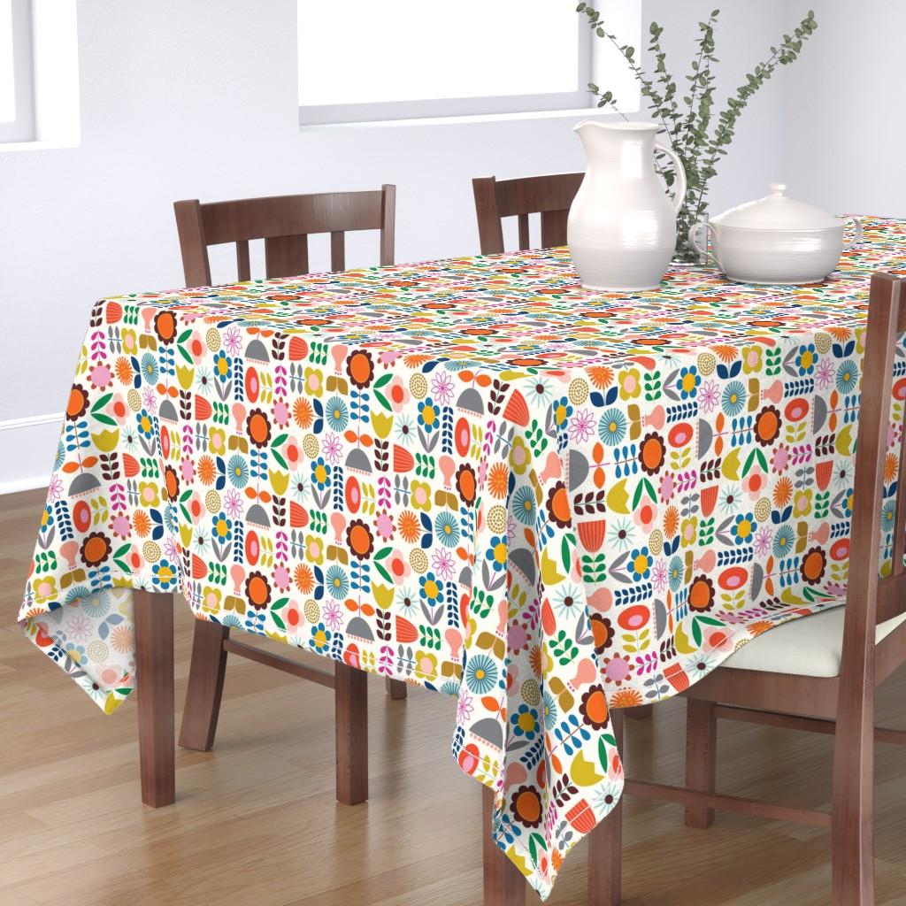 Bantam Rectangular Tablecloth featuring Mod Scandinavian Garden by katerhees