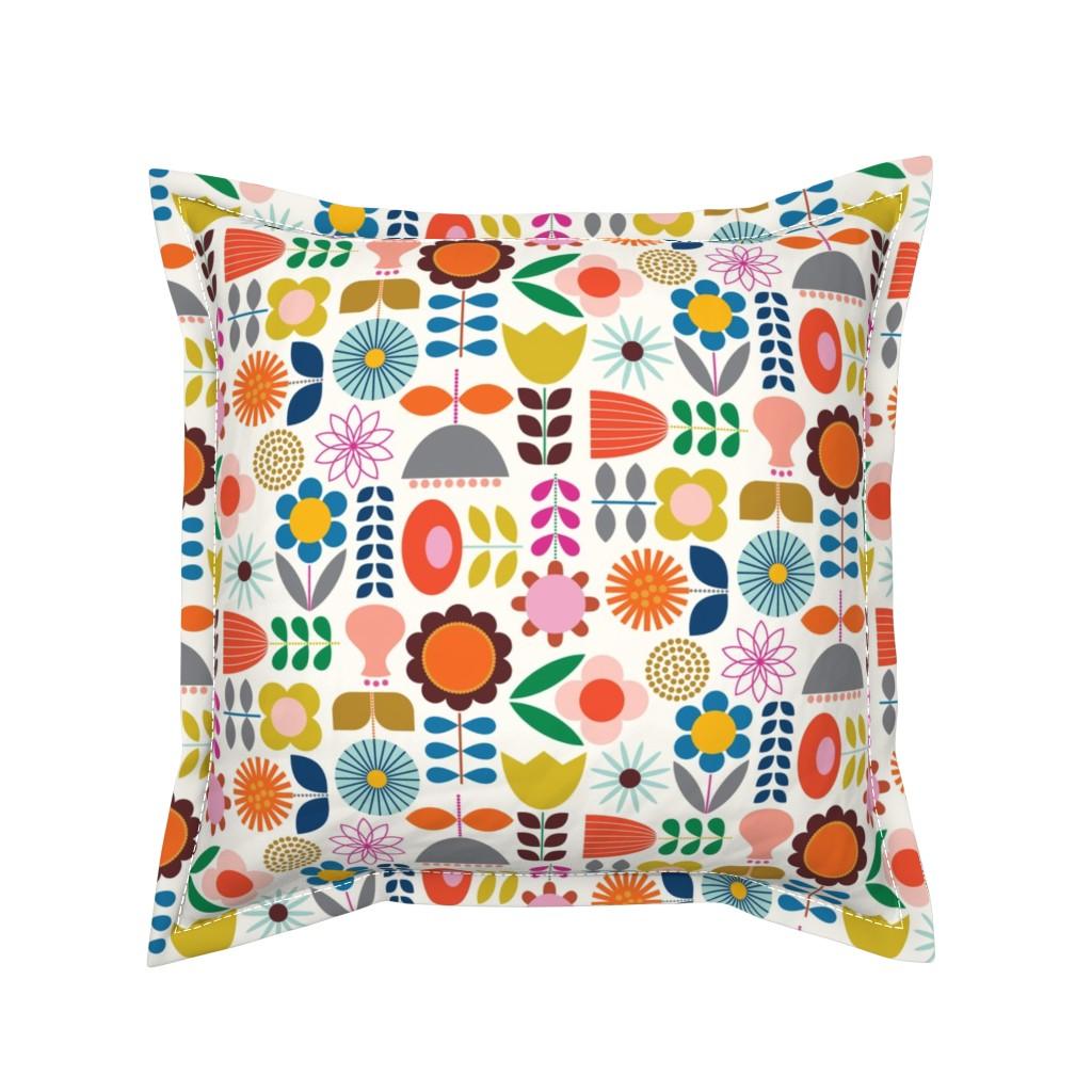 Serama Throw Pillow featuring Mod Scandinavian Garden by katerhees