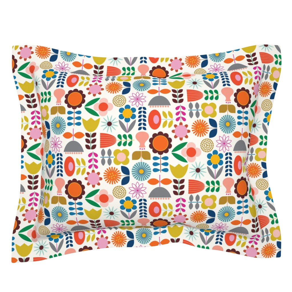Sebright Pillow Sham featuring Mod Scandinavian Garden by katerhees