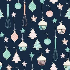 Cupcake Christmas { navy }