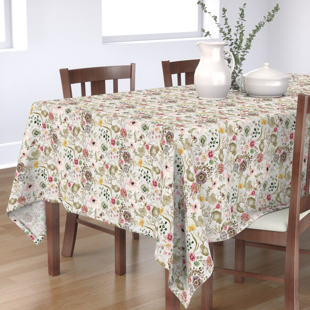 Bantam Rectangular Tablecloth featuring Atlantis Floral (golden)  by nouveau_bohemian