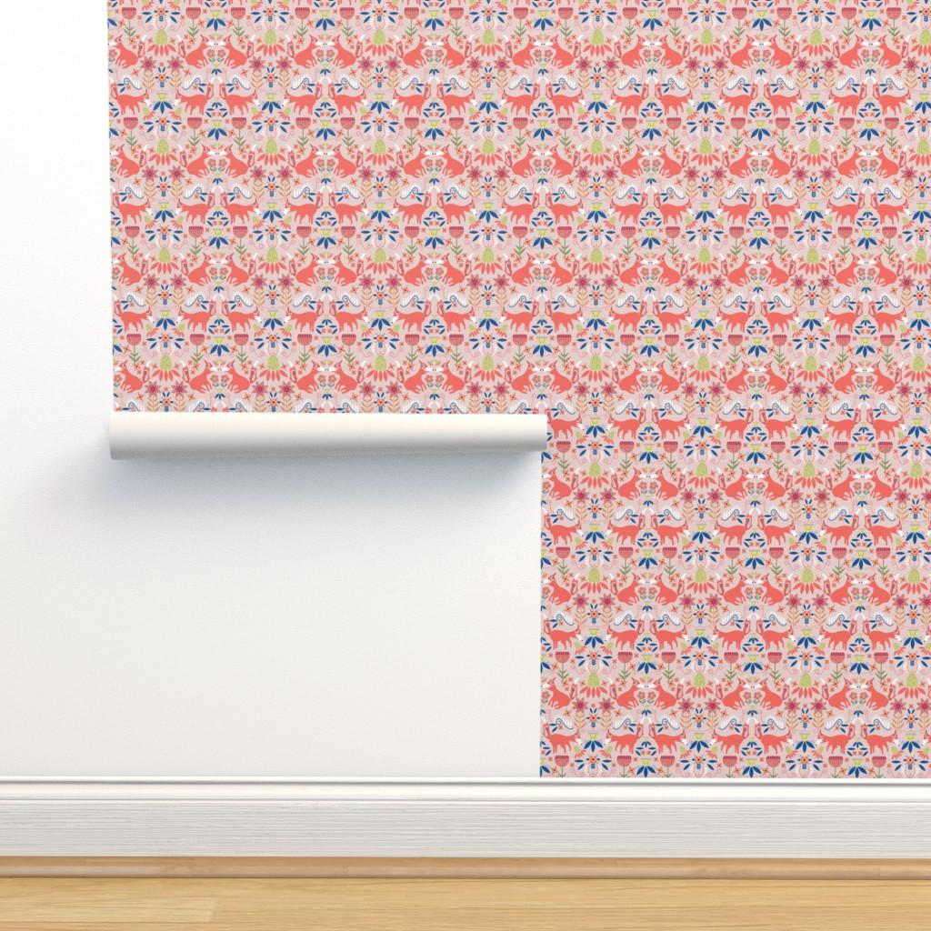 Isobar Durable Wallpaper featuring Fox Trot Scandinavian Folk Art by palifino