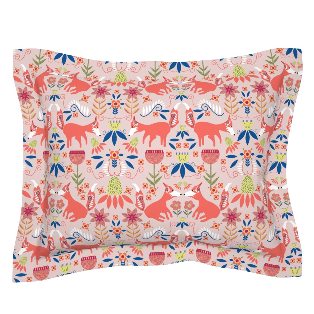 Sebright Pillow Sham featuring Fox Trot Scandinavian Folk Art by palifino