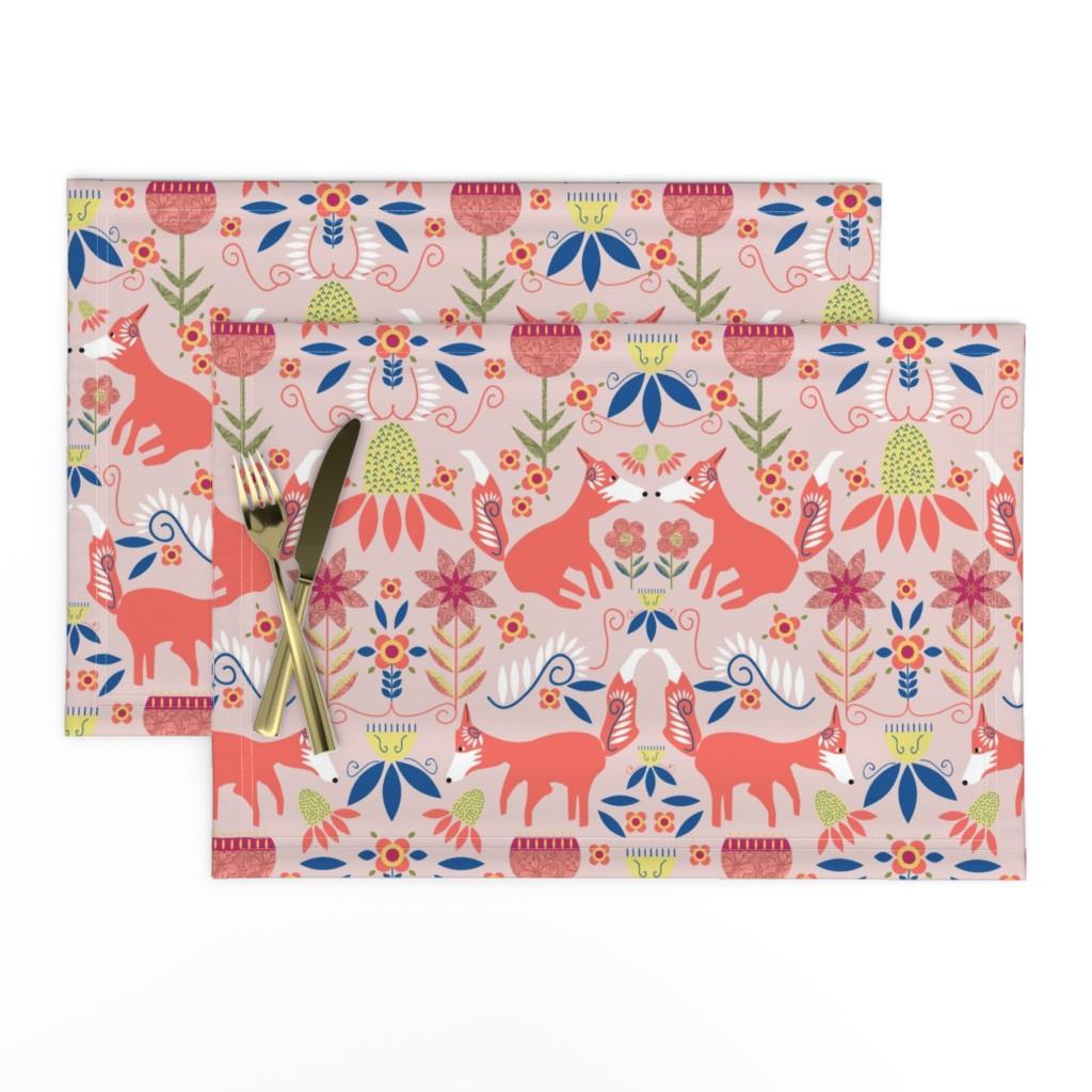 Lamona Cloth Placemats featuring Fox Trot Scandinavian Folk Art by palifino