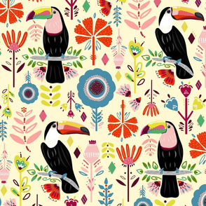 Colorful Scandinavian Toucans On Cream (Large version)