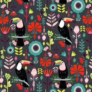 Scandinavian Toucans On Grey Colorful Scandinavian Toucans (Small version)
