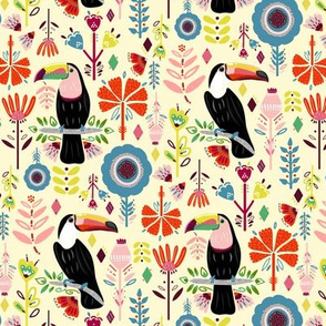 Colorful Scandinavian Toucans On Cream (Small version)