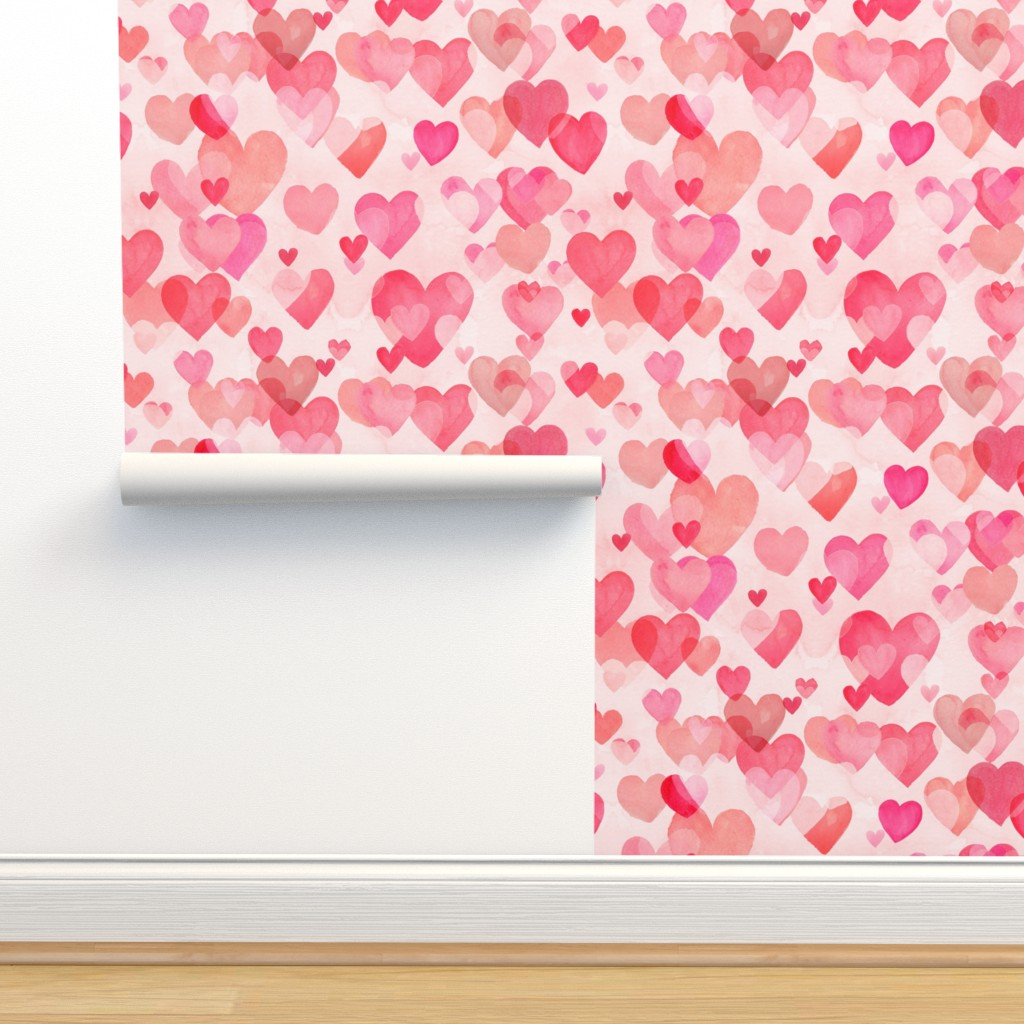 Isobar Durable Wallpaper featuring Watercolor Hearts by kimsa