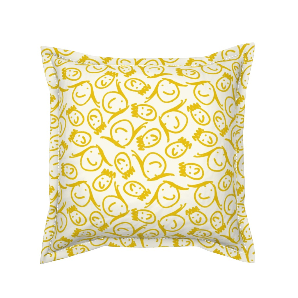 Serama Throw Pillow featuring sketchy relatives-lemonheads by cinneworthington