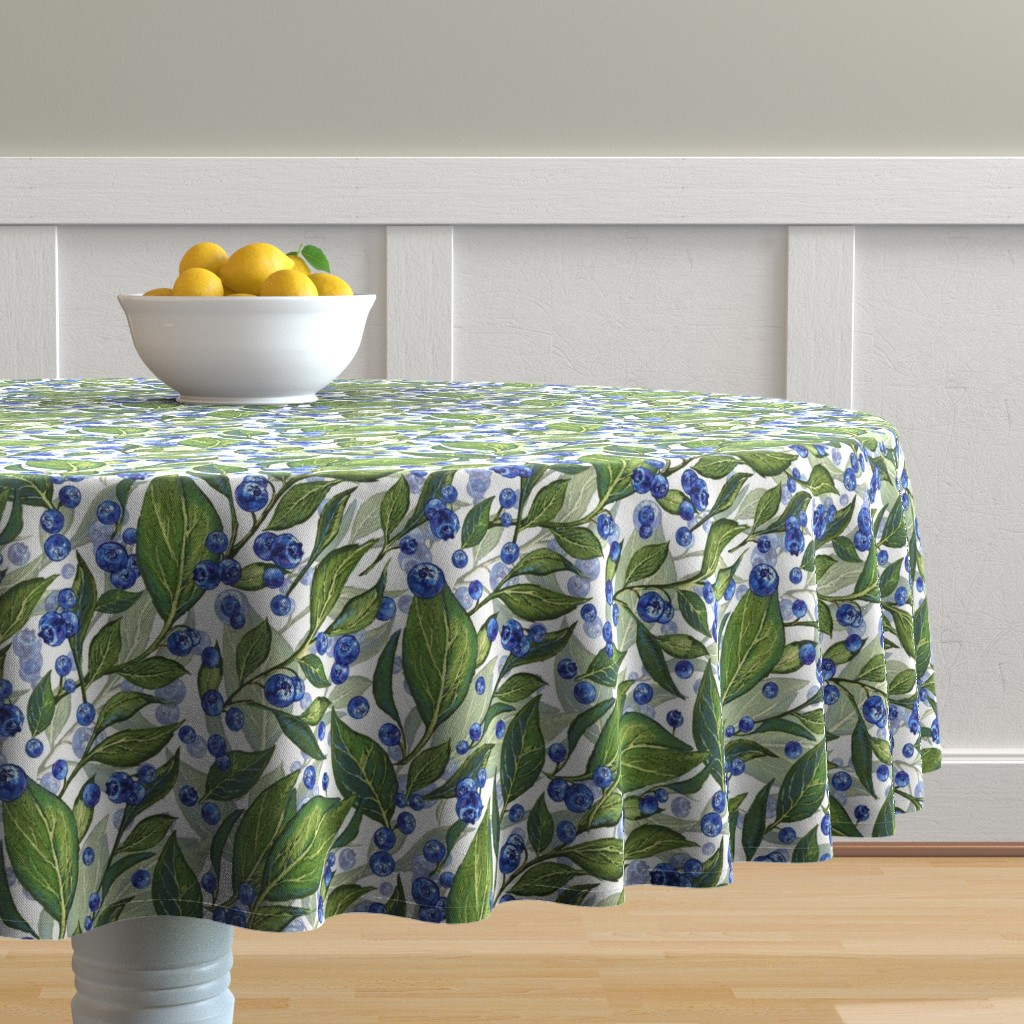 Malay Round Tablecloth featuring Festive Blueberries | White by southwind