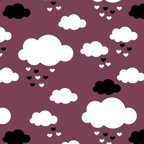 Sleep little baby night sky clouds Scandinavian nursery maroon gender neutral