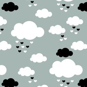 Sleep little baby night sky clouds Scandinavian nursery gray black monochrome