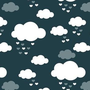 Sleep little baby night sky clouds Scandinavian nursery blue night boys