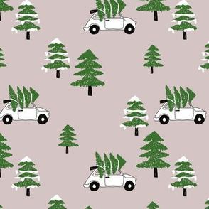 Christmas and pine tree winter wonderland seasonal winter day vintage car print gender neutral green