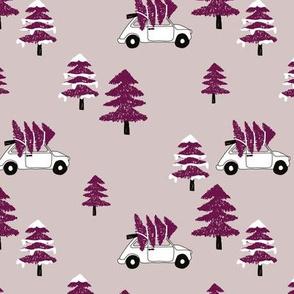 Christmas and pine tree winter wonderland seasonal winter day vintage car print gender neutral maroon