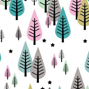Little pine tree forest Scandinavian style trees and stars winter wonderland green pink
