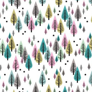 Little pine tree  Canada forest Scandinavian style trees and stars winter wonderland green pink girls SMALL