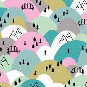 Hills and mountains summer roadtrip holiday design scandinavian pine tree forest pink summer  girls