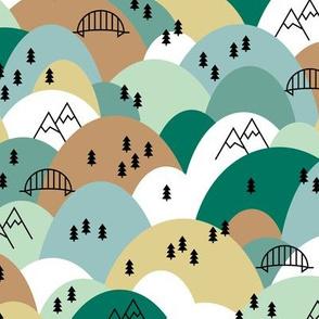 Hills and mountains summer roadtrip holiday design scandinavian pine tree forest