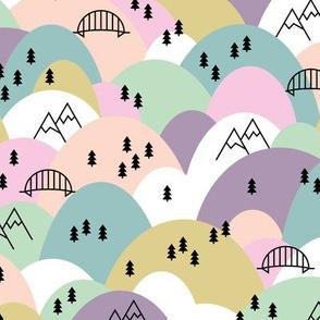 Hills and mountains summer roadtrip holiday design scandinavian pine tree forest soft pastel girls