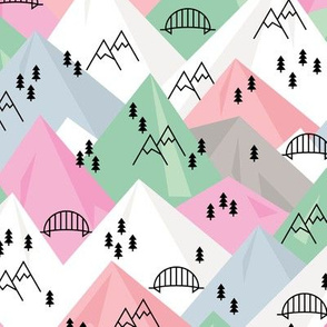 Abstract Scandinavian mountains woodland road trip adventure and pine tree forest pink mint