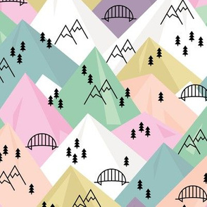 Abstract Scandinavian mountains woodland road trip adventure and pine tree forest pink girls