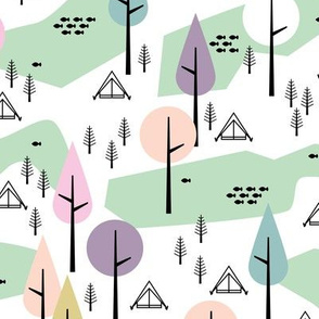 Camping  Canada adventure mountain river and woodland forest trees spring summer design pastel mint girls