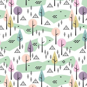 Camping  Canada adventure mountain river and woodland forest trees spring summer design pastel pink mint SMALL