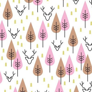 Winter  Canada wonderland reindeer pine tree forest Scandinavian winter nature design pink girls