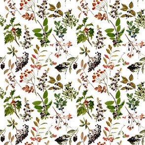 """9"""" vintage botanical wildflowers and berries on white"""
