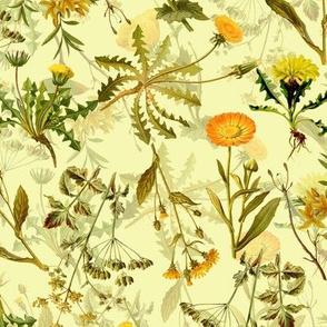 "10"" yellow vintage botanical wildflowers on  yellow"