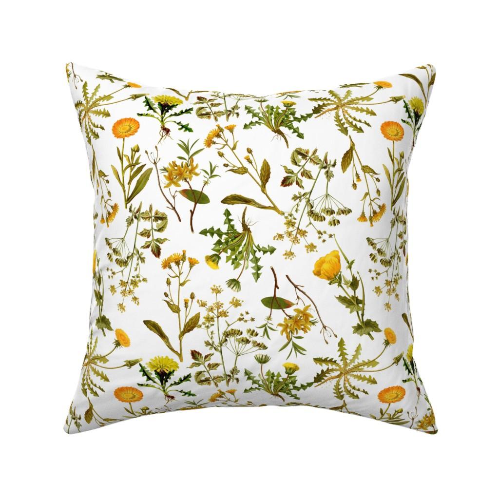 "Catalan Throw Pillow featuring 10"" yellow vintage botanical wildflowers on  white by utart"