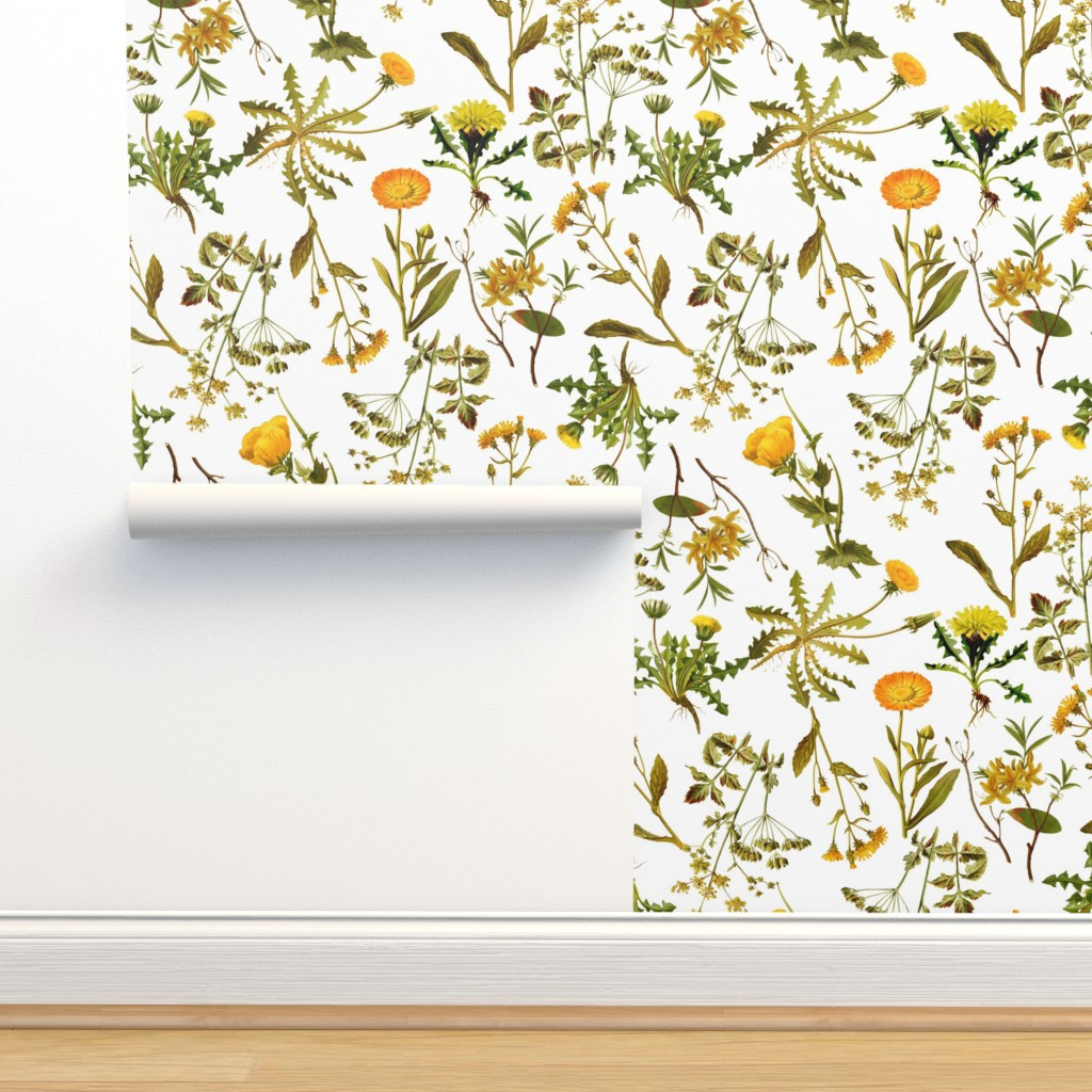"""Isobar Durable Wallpaper featuring 10"""" yellow vintage botanical wildflowers on  white by utart"""