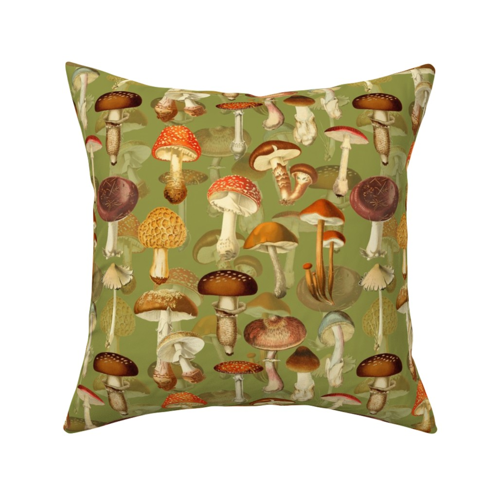"""Catalan Throw Pillow featuring 10"""" vintage hand drawn botnical fungus mushrooms double on green-Antique mushroom fabric,mushrooms fabric by utart"""