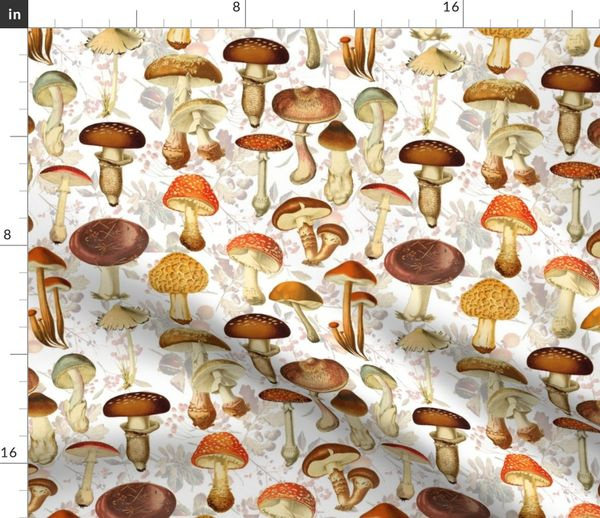White retro vintage look brown teal mushroom print cotton fat quarter