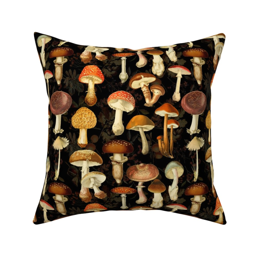 Catalan Throw Pillow featuring vintage hand drawn botanical fungus mushrooms double on black-Antique mushroom fabric,mushrooms fabric by utart