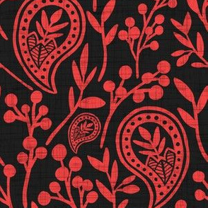 Grunge Floral Paisley - Coral