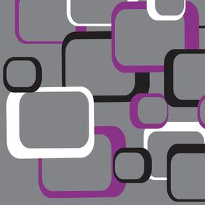 Purple Black White Retro Squares Gray Background