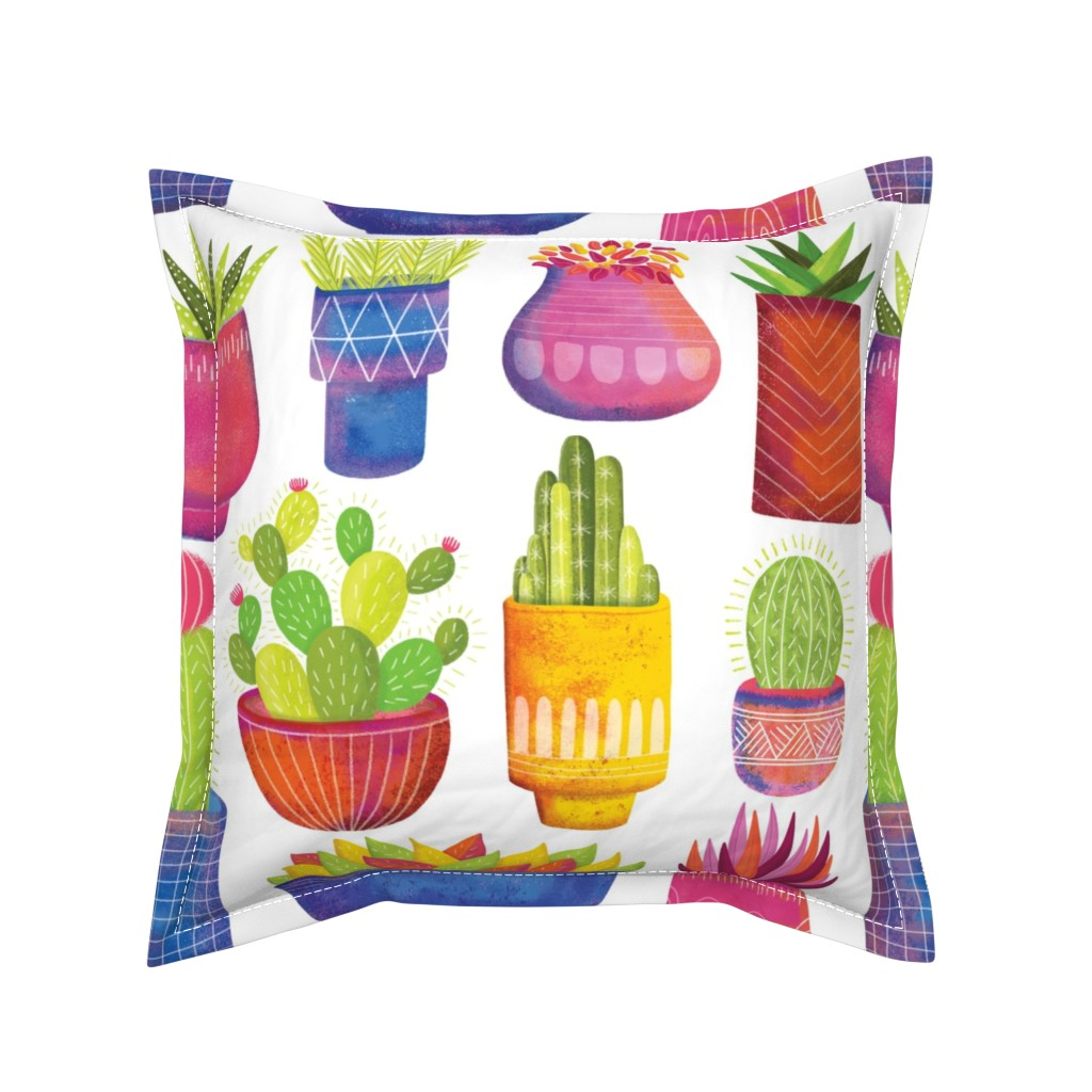 Serama Throw Pillow featuring Cactus by quietly_fiery