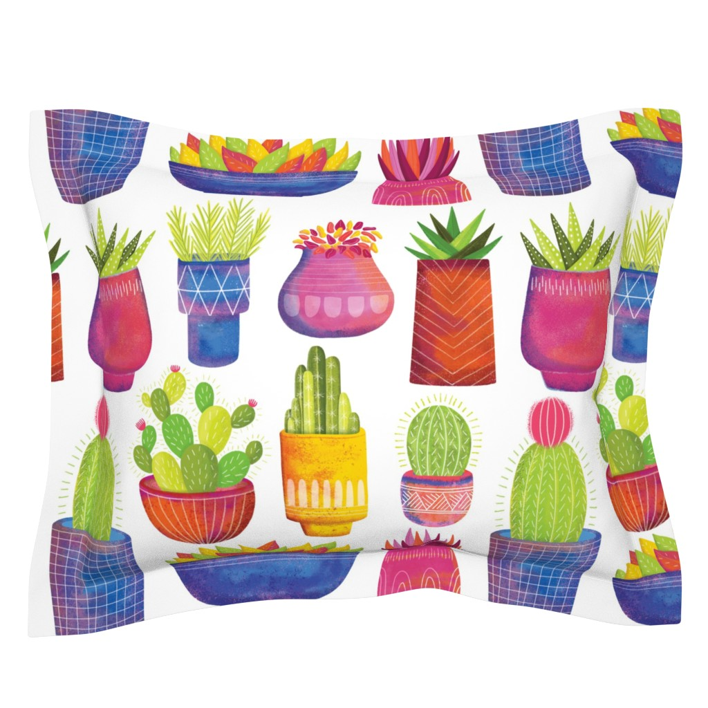 Sebright Pillow Sham featuring Cactus by quietly_fiery